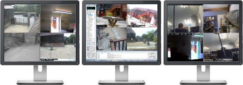 Image of iCatcher Console running on a 3-monitor flexible CCTV system
